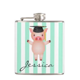 Schwein in der Abschluss-Kappe personalisiert Flachmann