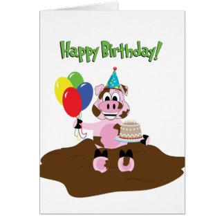Schwein in der Schlamm-Geburtstags-Gruß-Karte Karte