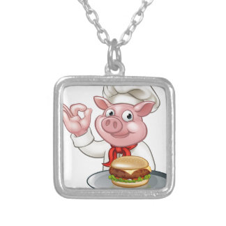 Schwein-Koch, der Burger hält Versilberte Kette