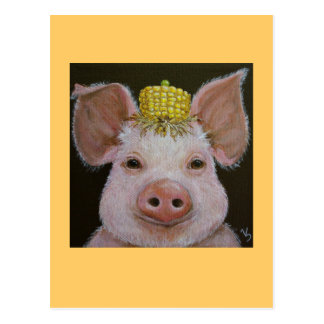 Schwein mit Mais- und Erbsenhutpostkarte Postkarte