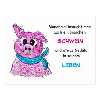 Schwein mit Schleife Postkarte