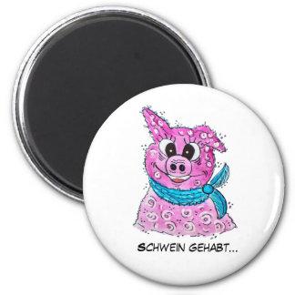 Schwein mit Schleife Runder Magnet 5,7 Cm