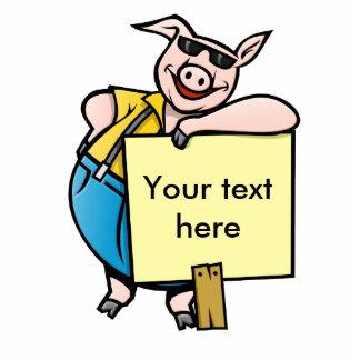 Schwein mit Zeichen Freistehende Fotoskulptur