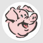 Schwein Sau pig hog Runder Aufkleber