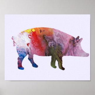 Schwein-Silhouette Poster