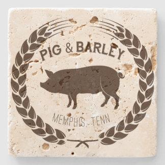 Schwein-u. Gersten-natürlicher SteinUntersetzer