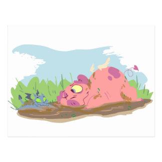 Schwein und Drache-Postkarte Postkarte
