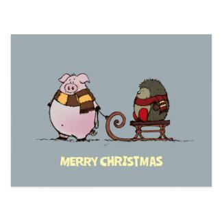 Schwein und Igel mit Schals Postkarte