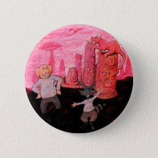 Schwein und Raccoon auf Mars Runder Button 5,1 Cm