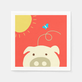 Schwein und Schmetterling Papierserviette