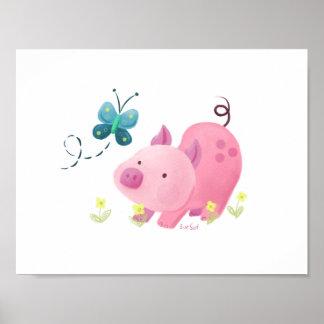 Schwein und Schmetterling Poster