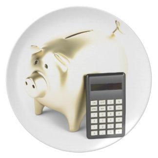 Schwein und Taschenrechner Teller