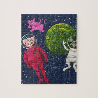 Schwein, Waschbär und rosa Elefant Puzzle