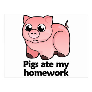 Schweine aßen meine Hausaufgaben Postkarte