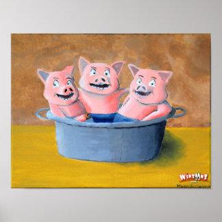 Schweine in einer Wanne - Plakat