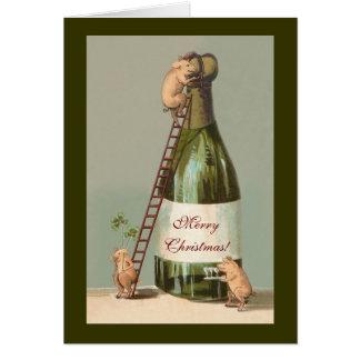 Schweine und Champagne; Lustiges Vintages Karte