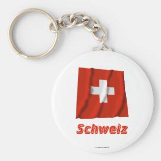 Schweiz Fliegende Flagge MIT Namen Standard Runder Schlüsselanhänger