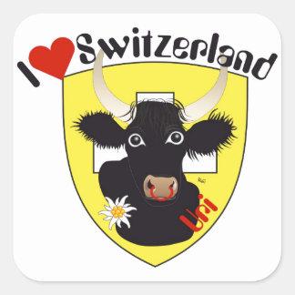 Schweiz Suisse Svizzera Svizra Switzerland Kleber Quadratischer Aufkleber