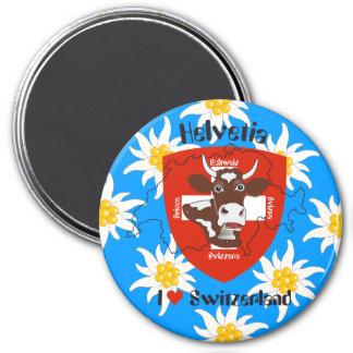 Schweiz Suisse Svizzera Svizra Switzerland Magnet Runder Magnet 7,6 Cm