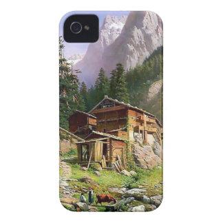 Schweizer Alpen-Blockhausmalerei iPhone 4 Case-Mate Hüllen