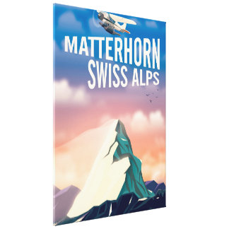 Schweizer Alpen-Matterhorn-Reiseplakat Leinwanddruck