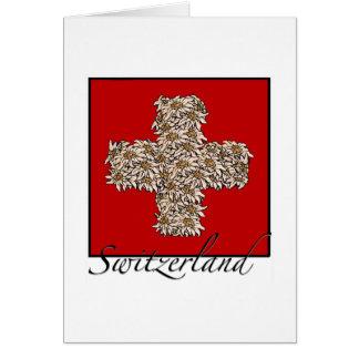 Schweizer Edelweiss Kreuz Karte