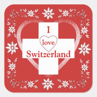 Schweizer Flagge und edelweiss Quadratischer Aufkleber