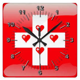 Schweizer glatte Flagge Quadratische Wanduhr