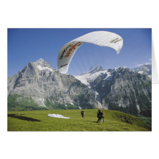 Schweizer Grußkarten, Grindelwald, Gleitschirmflie Grußkarte