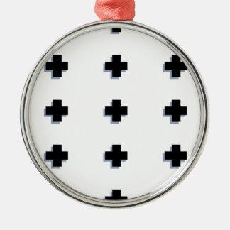Schweizer Kreuz-moderner skandinavischer Entwurf Rundes Silberfarbenes Ornament