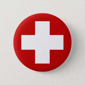 Schweizer Kreuz-Notfall Roundell Runder Button 5,7 Cm