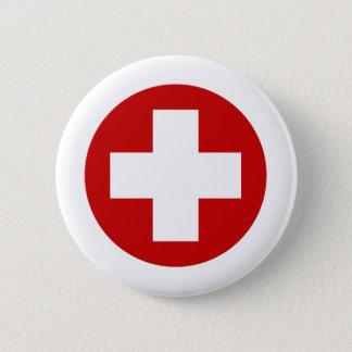 Schweizer rotes Kreuz-NotErholung Roundell Runder Button 5,7 Cm