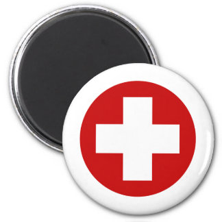 Schweizer rotes Kreuz-NotErholung Roundell Runder Magnet 5,7 Cm