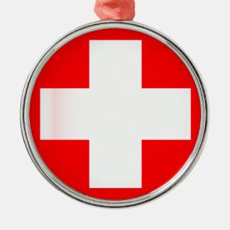 Schweizer Staatsflagge Rundes Silberfarbenes Ornament