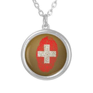Schweizer Touchfingerabdruckflagge Halskette Mit Rundem Anhänger