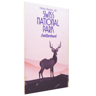 Schweizer Vintages Reiseplakat des Nationalparks Leinwanddruck