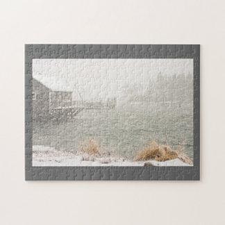 Schwerer Schneesturm im Bass-Hafen, Maine Puzzle