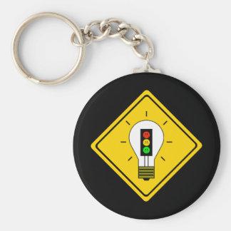 Schwermütige Stoplight-Glühlampe voran Schlüsselanhänger