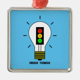 Schwermütige Stoplight-Glühlampen-einzigartiger Silbernes Ornament