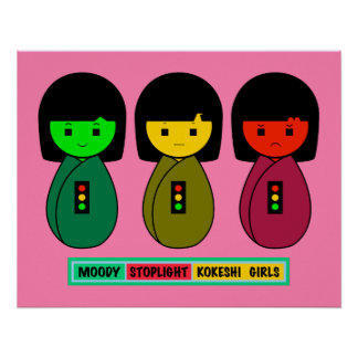 Schwermütige Stoplight Kokeshi Mädchen mit Poster