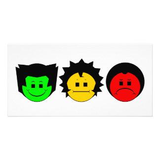 Schwermütige Stoplight-Trio-Gesichter Bild Karte