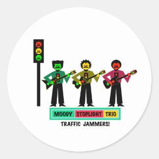 Schwermütige Stoplight-Triomustachio-Gitarristen 2 Runder Aufkleber