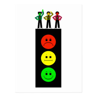 Schwermütiger Stoplight mit schwermütigem Postkarte