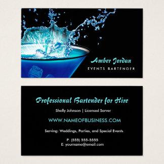 Schwermütiges blaues Getränkespritzen-nervöser Visitenkarten