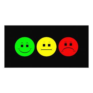 Schwermütiges Stoplight-Trio-linkes Grün Photo Karten Vorlage