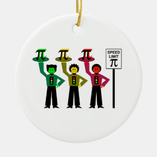 Schwermütiges Stoplight-Trio nahe bei Rundes Keramik Ornament