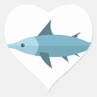 Schwertfisch-Primitiv-Art Herz-Aufkleber