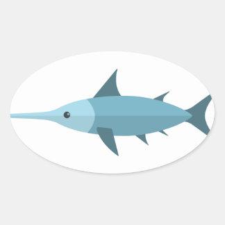 Schwertfisch-Primitiv-Art Ovaler Aufkleber