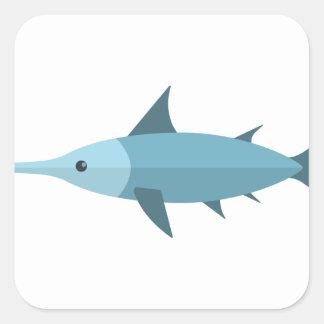 Schwertfisch-Primitiv-Art Quadratischer Aufkleber