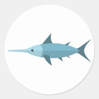 Schwertfisch-Primitiv-Art Runder Aufkleber